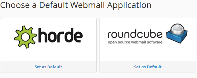 Webmail Application choice screen