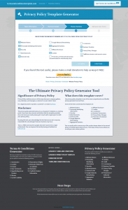 privacy template generator chosing policy options